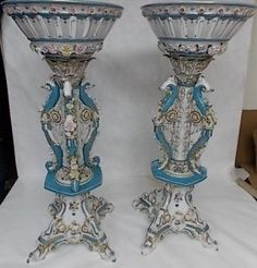"""PR OF MONUMENTAL MUSEUM QUALITY MEISSEN PORCELAIN COMPOTES 41"""" TALL"""