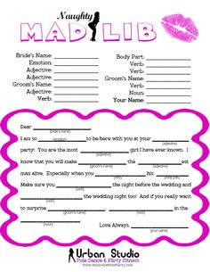 Bachelorette Party Game - The Naughty Mad Lib. Click the image and you can print it for free - compliments of Miss Fit Academy - Nashville's hottest pole dance studio! Bachlorette Party, Bachelorette Party Games, Pure Romance Games, Pure Romance Party, Passion Parties, Lingerie Party, Friend Wedding, Wedding Stuff, Wedding Ideas