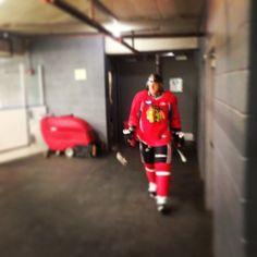 Marian Hossa heads to the ice for an informal players' skate. #Blackhawks photo by @NHLBlackhawks