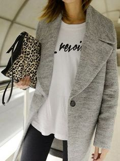 Grey oversized coat, graphic tee + leopard clutch