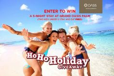 All-inclusive! Great beach! Enter for your chance to win a 5 Night Stay for 2 at Oasis Hotels & Resorts!