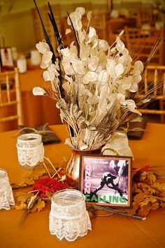 Photo by Littlewing Studio Photography. Centerpiece Ideas, Wedding Centerpieces, Table Decorations, Silver Dollar Plant, Money Plant, Maid Of Honor, Tablescapes, Markers, Reception