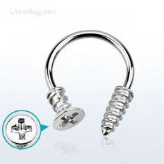 Aro abierto con forma de tornillo phillip. Grosor 1,6mm. Ideal para tu piercing de pezón, septum u oreja, aunque hay quien lo lleva en el ombligo.