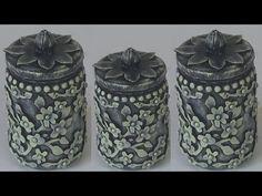 (324) POTE DE VIDRO RECICLADO - YouTube Glass Bottle Crafts, Bottle Vase, Glass Bottles, Clay Wall Art, Clay Art, Mason Jar Crafts, Mason Jars, Decoupage Jars, Diy Glasses