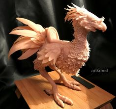 To kick off the new year, I did a chocobo sculpt!  FFXV's chocobos are my favorite ever, so I thought why not? It's made from Super Sculpey with a wire frame underneath. Originally it was free...