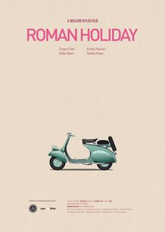 Roman Holiday poster by Jesús Prudencio. Cars And Films poster Famous Movie Cars, Iconic Movies, Cult Movies, Popular Movies, Pulp Fiction, Roman Holiday Movie, Film Cars, Illustrator, Plakat Design