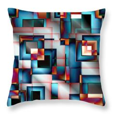 Vector Throw Pillows - Abstract Square 11 Throw Pillow by Todd and candice Dailey