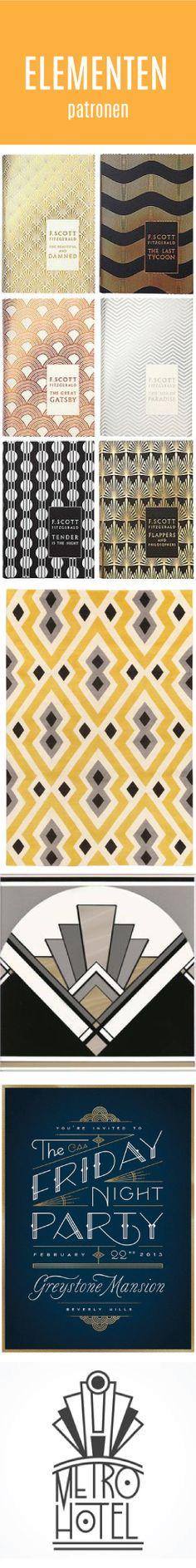 Er worden vaak drukke patronen gebruikt als achtergrond of rand