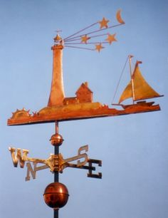 The Lighthouse with Sailboat Weather Vane is handcrafted of copper and brass with gold leafing. Personalized design available.