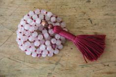 rose quartz & ruby, love and compassion mala, 108 knotted gemstone mala, meditation japa, prayer beads
