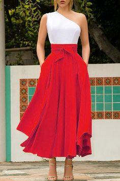 Red Irregular Pockets Belt Lace-up High Waisted Flowy Cute Maxi Skirt Cute Maxi Skirts, Maxi Skirt Outfits, Womens Maxi Skirts, Tie Skirt, Dress Skirt, Skirt Set, Pleated Skirt, Mode Mantel, Business Outfits