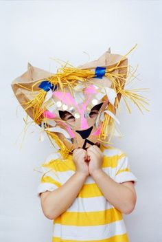 Old magazines around the house? Turn it into a playful mask for your little one.