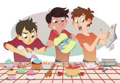 Wirt from Over the Garden Wall, Marco from Star vs the Forces of Evil, and Dipper from Gravity Falls. Baking cupcakes cuteness yes yes yes Best Crossover, Fandom Crossover, Gravity Falls Crossover, Art Gravity Falls, Geeks, Garden Falls, Desenhos Gravity Falls, Star Y Marco, Rick E