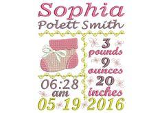 Embroidery Newborn Birth Announcement Design For