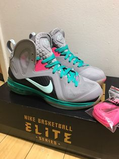 2c28d35f8cd Nike Lebron 9 Elite IX Miami Vice South Beach 516958-001 Sz 7.5 kith LLTK