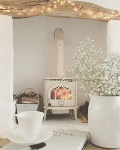 30 Best Wood Stove Decor Ideas For Your Living Room – Homely Cottage Living Rooms, Home And Living, Living Room Decor, Small Living, Wood Stove Decor, Muebles Shabby Chic, Deco Retro, Decor Scandinavian, Scandinavian Fireplace