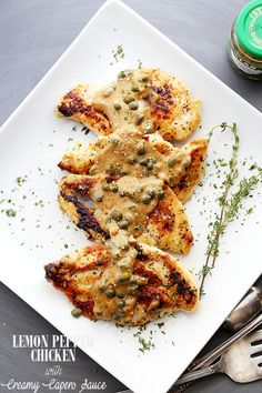 Lemon Pepper Chicken with Creamy Capers Sauce