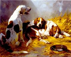 Hounds in a Kennel - Oil on canvas by Andre Pater, 1995