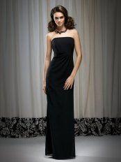 Black Column Strapless Zipper Floor Length Prom Dresses With Twist Draped