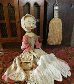Queen Anne doll reproduction , wooden ,jointed doll ,by The Old Wooden Sisters Antique Dolls, Vintage Dolls, Victorian Toys, Miss Kitty, Antique Wood, China Dolls, Doll Quilt, New Dolls, Wooden Dolls