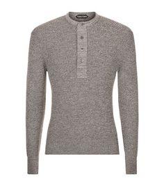 TOM FORD Henley Melange Sweater. #tomford #cloth #