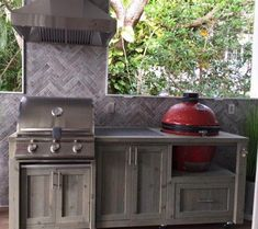 Outdoor Kitchen, Dual Grill Cabinet, Custom Grill Tables, Mini Fridge Bar Cart, and Outdoor Patio Furniture Table Grill, Grill Cart, A Table, Akorn Grill, Patio Tables, Dining Table, Outdoor Kitchen Bars, Outdoor Kitchen Design, Outdoor Kitchens