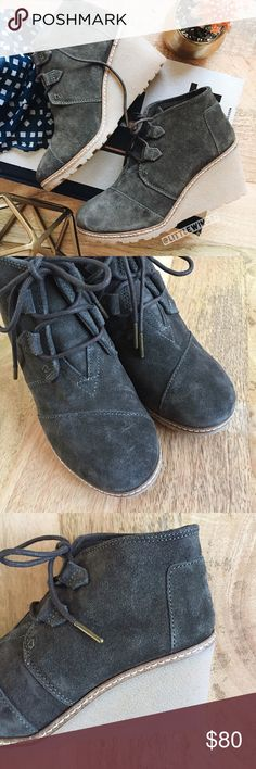 "Toms suede wedge booties Toms | 'Desert Wedge' booties in Olive Suede. These lace-up booties feature a soft suede upper, wedge heel, rugged rubber sole, and cushioned footbed. Pair these comfy booties with leggings or your favorite denim for a casual chic look! In excellent, like new condition.   Size: 6 Heel height: 3.5"" Toms Shoes Ankle Boots & Booties"