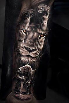 Lion Back Tattoo, Lion Tattoo Sleeves, Sleeve Tattoos, Lion Sleeve, Mens Lion Tattoo, Tribal Sleeve, Gladiator Tattoo, Forearm Tattoos, Cool Tattoos
