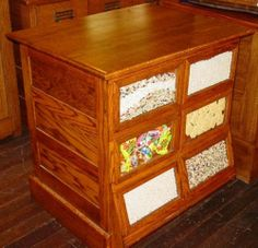 Antique Counter Store Bin Cabinets | Walker Bin Seed Cabinet with ...