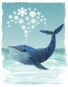 Limited Edition Blue Whale Christmas Card by DaveBarrow on Etsy, £2.99