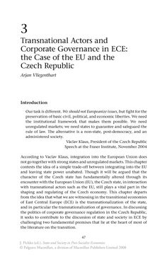 Transnational Actors and Corporate Governance in ECE: the Case of the EU and the Czech Republic - Springer