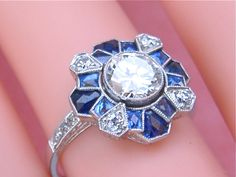 Art Deco 1 14ct Diamond & Sapphire Ring