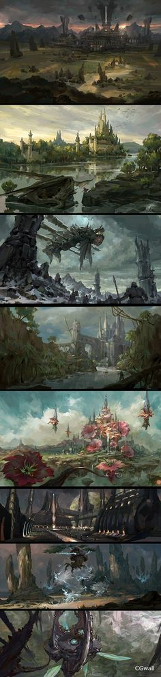 @ royal brother collected [scene] scene illustration and photographic reference (Figure _ petal game Fantasy City, Fantasy Places, Fantasy World, Landscape Concept, Fantasy Landscape, Landscape Art, Environment Concept Art, Environment Design, Illustration Fantasy