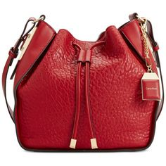 Calvin Klein Leather Drawstring Bag (20.365 RUB) ❤ liked on Polyvore featuring bags, handbags, dark cherry, red leather handbag, leather bags, red leather purse, leather purse and calvin klein handbags