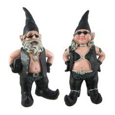 Amazon.com: Gnoschitt and Gnofun Pair of Biker Garden Gnomes Statue Motorcycle Leather 9 Inch Figures: Patio, Lawn & Garden