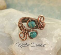 Russian Amazonite Double Gem Adjustable Copper Wire Woven Ring | WynterCreations - Jewelry on ArtFire