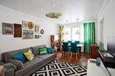 Уютная квартира | Уютная современная гостиная. Деталь дня: бирюзовые ...