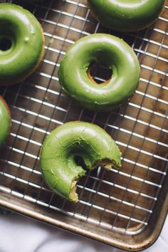 Matcha Baked Donuts for National Donut Day.