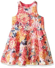 Pippa  Julie Girls Little Girls Floral Printed Lace Dress Multi 5 *** Want additional info? Click on the image.
