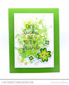 Handmade card from Francine Vuilleme featuring Lucky stamp set and Die-namics #mftstamps