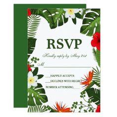 #Modern Tropical Green Leaves RSVP Wedding Card - #weddinginvitations #wedding #invitations #party #card #cards #invitation #summer