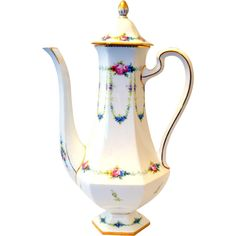 Minton England Coffee Pot Made for Bailey, Banks & Biddle from front-porch on Ruby Lane