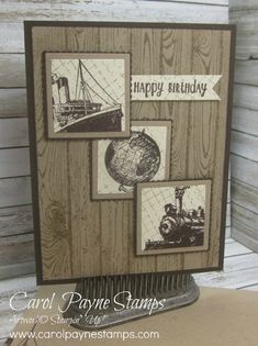 Combine Hardwood, Traveler, Timeless Textures, Friendly Wishes, and Happy Happenings for a vintage manly birthday card! My Stampin' Up!-Only Blog: www.carolpaynestamps.com My Online Store:http://www.stampinup.net/esuite/home/carolpayne/ Email: carol@carolpaynestamps.com Call or text: 618-237-6281