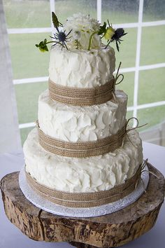 Rustic Wedding Cake & Wooden Stand. Cake by Just Desserts.
