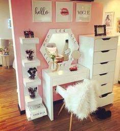 classic white makeup table for bedroom