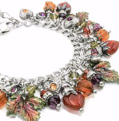 With the first flash of autumn, this autumn jewelry will make a statement for your fall jewelry collection, with five beautiful Carnelian stone hearts, radiant glass pumpkins, enameled leaves in coppe                                                                                                                                                     More