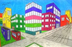 Two Point Perspective Drawings   Lessons from the K-12 Art Room