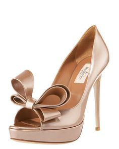 Couture Bow Platform Pump, Light Brown Metallic by Valentino at Bergdorf Goodman.