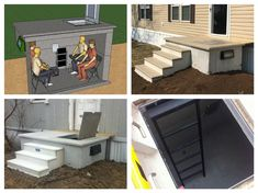 2 IN 1 Porch AND Storm Shelter! Made of high strength concrete with a heavy duty metal hatch and to vents for air circulation, this porch shelter will be right at your door when danger comes knocking and will keep your family safe. Interior Desing, Home Interior, Interior Design Living Room, Porch Shelter, High Strength Concrete, Safe Room, Secret Rooms, Mobile Home, Home Projects