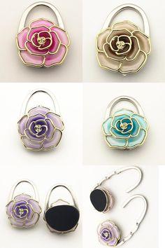 [Visit To Buy] Foldable Flower Shape Bag Purse Hook Hange Bag Parts U0026  Accessories Handbag Holder Shell Bag Folding Table Hanger